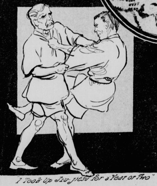 Above: Roosevelt practices Jiu Jitsu. From the New York Tribune, 1913.