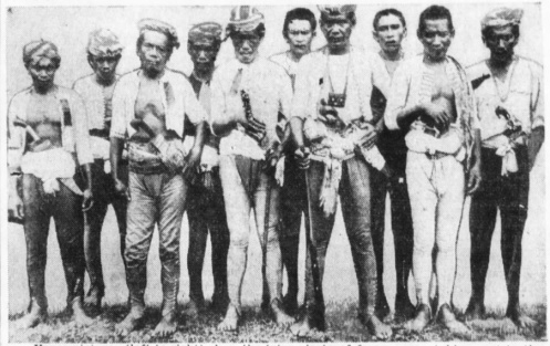 Above: Filipino Moro warriors armed with blades