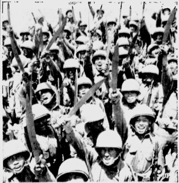 """Filipinos Carry Bolo Knives"""" in World War II 
