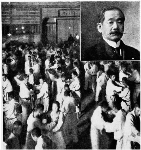 "Above: This photo combination was printed in Clarke's book, ""Japan at First Hand."" The caption reads: ""Judo class at practice before dawn in winter time."""