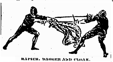 Illustration of fencers with rapier, cloak and daggers. New York, 1891.