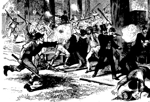Detail from Frank Leslie's Illustrated Magazine, July 12, 1870, depicting a riot in Manhattan between Irish Catholic and Protestant Immigrants