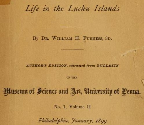 Above: The title page of Dr. Furness's 1899 report.