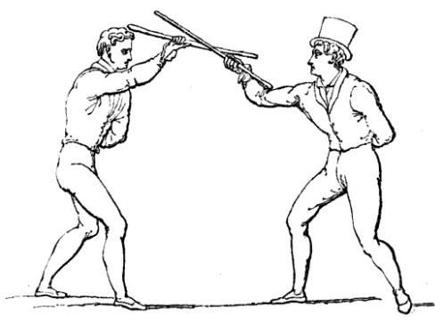 "Illustration of Shillelagh technique, from Donald Walker's ""Defensive Exercises"", London: Thomas Hurst, 1840."