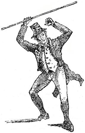 "Above: Brandishing a shillelagh. From ""Broad-Sword and Single-Stick"" by R.G. Allanson-Winn."