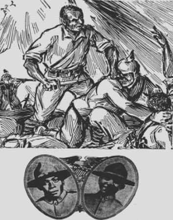 """Above: Illustration of Johnson and Roberts, from """"Kelly Miller's History of the World War for Human Rights"""" Source: Gutenberg.org"""
