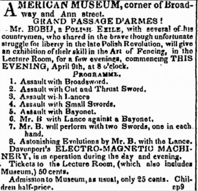 Bobij - 2 swords - April 9, 1838 NY Evening Post