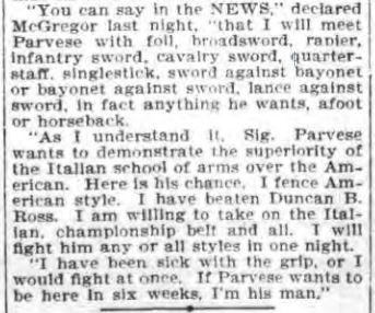 Above: Challenge from McGregor in the Buffalo Evening News, March 5, 1899.