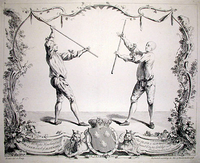 "Plate from James Miller's ""Treatise on backsword, sword, buckler, sword and dagger, sword and great gauntlet, falchon, quarterstaff,"" 1735"