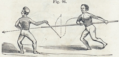 Above: Defense against staff weapons according to the system of Pehr Henrik Ling (founder of the Central Institute of Physical Culture in Stockholm), illustrated and published in the 1850s by a disciple of Ling's system.