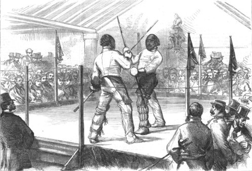 A quarterstaff contest. The Illustrated London News, March 26, 1870.