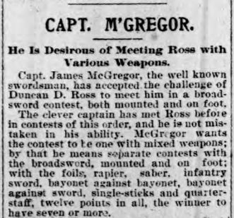 Above: McGregor accepts Ross's challenge in the Buffalo Courier-Record, 1897.