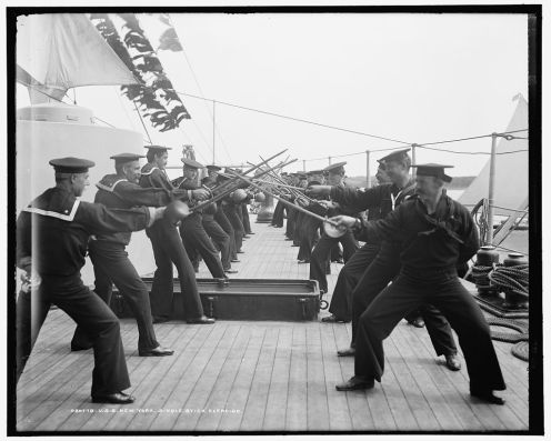 Singlestick practice on the U.S.S. New York