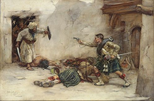 Scene from the Second Afghan War: Drummer James Roddick of the 92nd Gordon Highlanders, defending Lieutenant Menzies during hand-to-hand fighting in Kandahar, 1880. by William Skeoch Cumming.