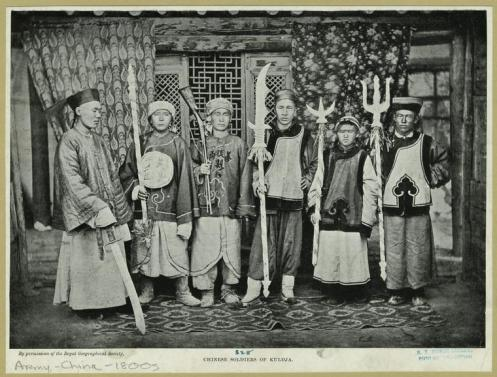 """Chinese soldiers of Kuldja."" (1902). Royal Geographical Society. Source: http://chinesemartialstudies.com/2013/05/27/through-a-lens-darkly-12-the-chinese-martial-arts-and-local-government-yamen-runners-clerks-jailers-and-executioners/"