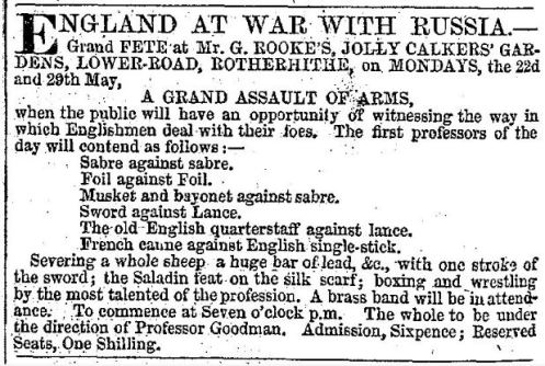 "Announcement for a Grand Assault of Arms involving the ""Old English quarterstaff,"" published in the Era, May 21, 1854"
