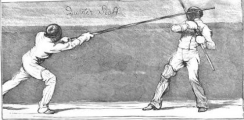 Above: A quarterstaff assault at the London Athletic Club, 1874 (from the Graphic).