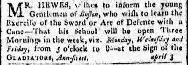 Another notice by Hewes in the Centinel, April 20, 1805