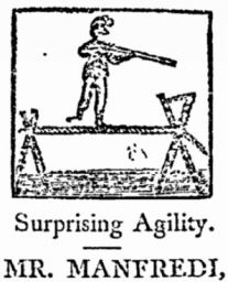 1807 depiction of Manfredi on tightrope with balancing pole