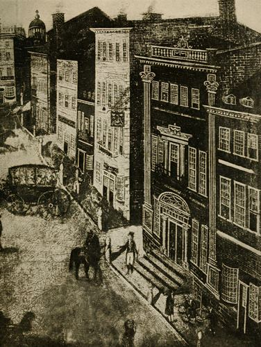 The Royal Exchange Tavern (white building at center) on State Street, where Hewes taught cane fencing three days per week